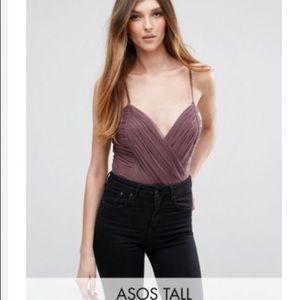 Asos Tall NWT Plum Wrap Bodysuit